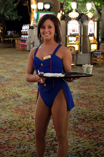 What does a cocktail waitress do at a casino casino winings